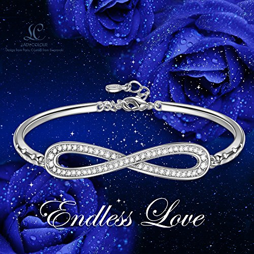LadyColour Endless Love Infinity Silver Tone Bangle Bracelets Swarovski Crystal Jewelry for Women Girls Christmas Gifts Anniversary Gifts for Her Birthday Gifts for Girlfriend Wife Daughter Mom