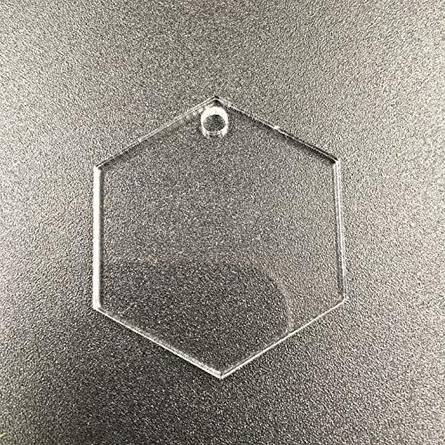 RUINUO Set van 10 acryl blanco zeshoek sleutelhanger sleutelhanger duidelijk, plexiglas laser gesneden blanco geometrische sleutelhanger DIY accessoire 1/8