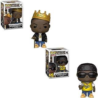 Funko POP! Rocks: Notorious B.I.G. Wearing Gold Crown and Notorious B.I.G. Wearing Biggie Jersey and Sunglasses Toy Action Figures - 2 POP Bundle
