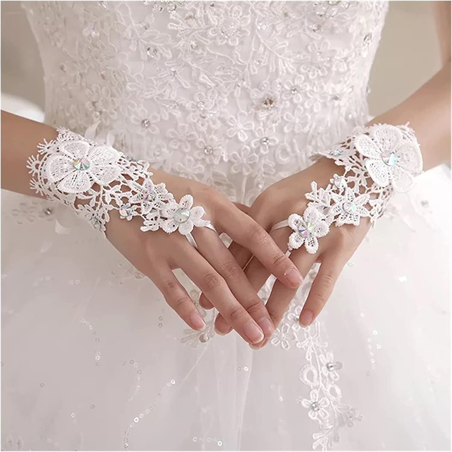 GUYANMAY Lace Gloves Elegant Lace Short White Fingerless Fashion Flower Girl Kid Child Student Party Performance Dancing Wedding Gloves (Color : White)