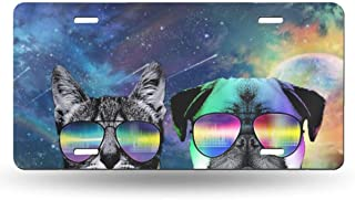 YongColer High Gloss Aluminum License Plate, Thick Durable Front Car License Plate Novelty License Plate Tag for Women Girls Men Boys, Galaxy Space Dj Cat with Earphone Pet Animal Pug Dog