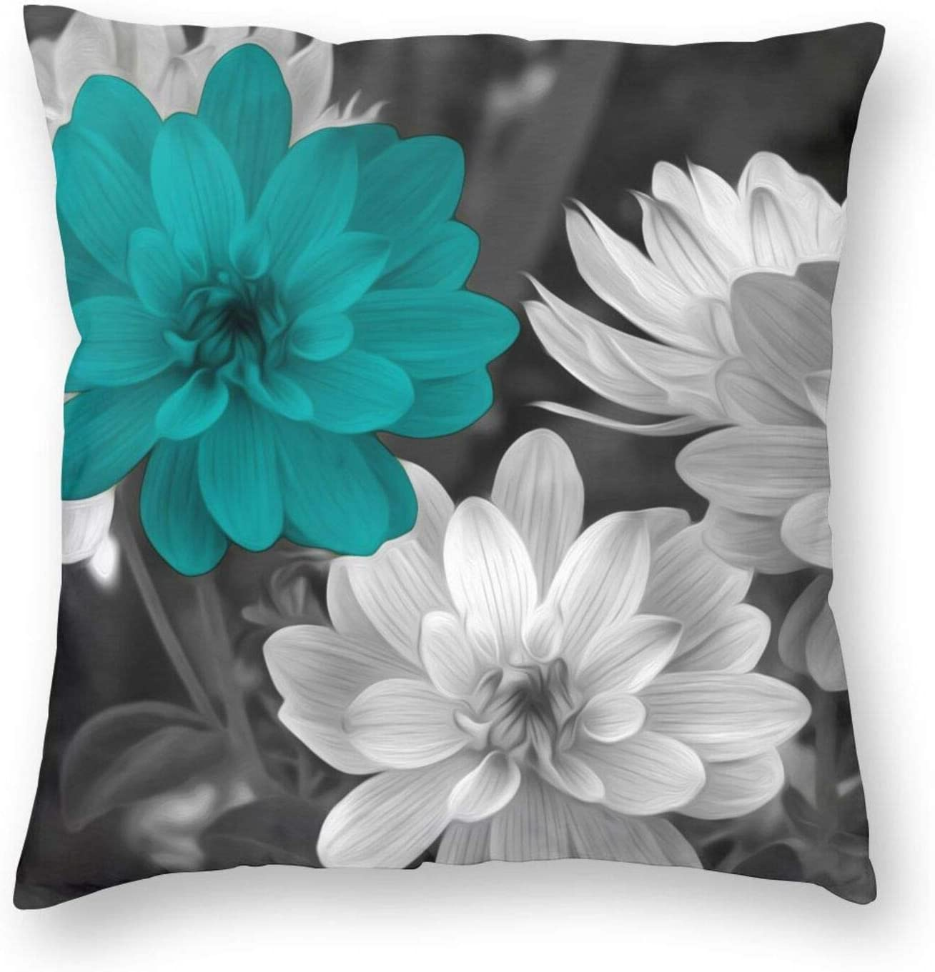 KILOWR Teal Grey Flowers Throw Pillow Covers 18x18 Inch Decorative Pillow Case for Couch Bed Car Home Decor