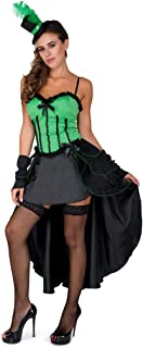 Burlesque Costume, Showgirl Dress with Cape for Women, Green and Black