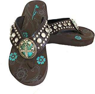 Montana West Women Flip Flops Wedged Sandals Turquoise Stone Pewter Cross