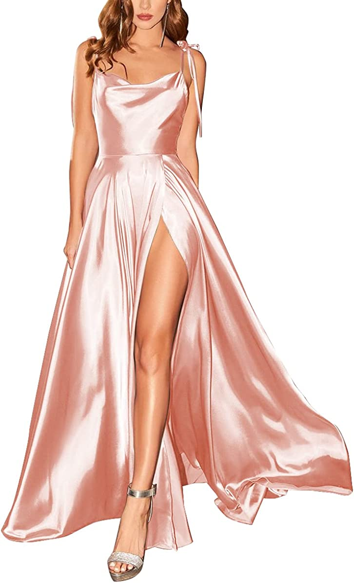 Split Spaghetti Super beauty product restock quality top Satin Prom Dress 2021 Summer Long quality assurance Pockets with F