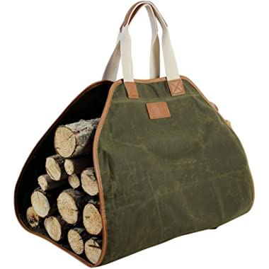 Canvas Log Carrier Bag,Waxed Durable Wood Tote,Fireplace Stove Accessories,Extra Large Firewood Holder with Handles for Camping Best Gifts
