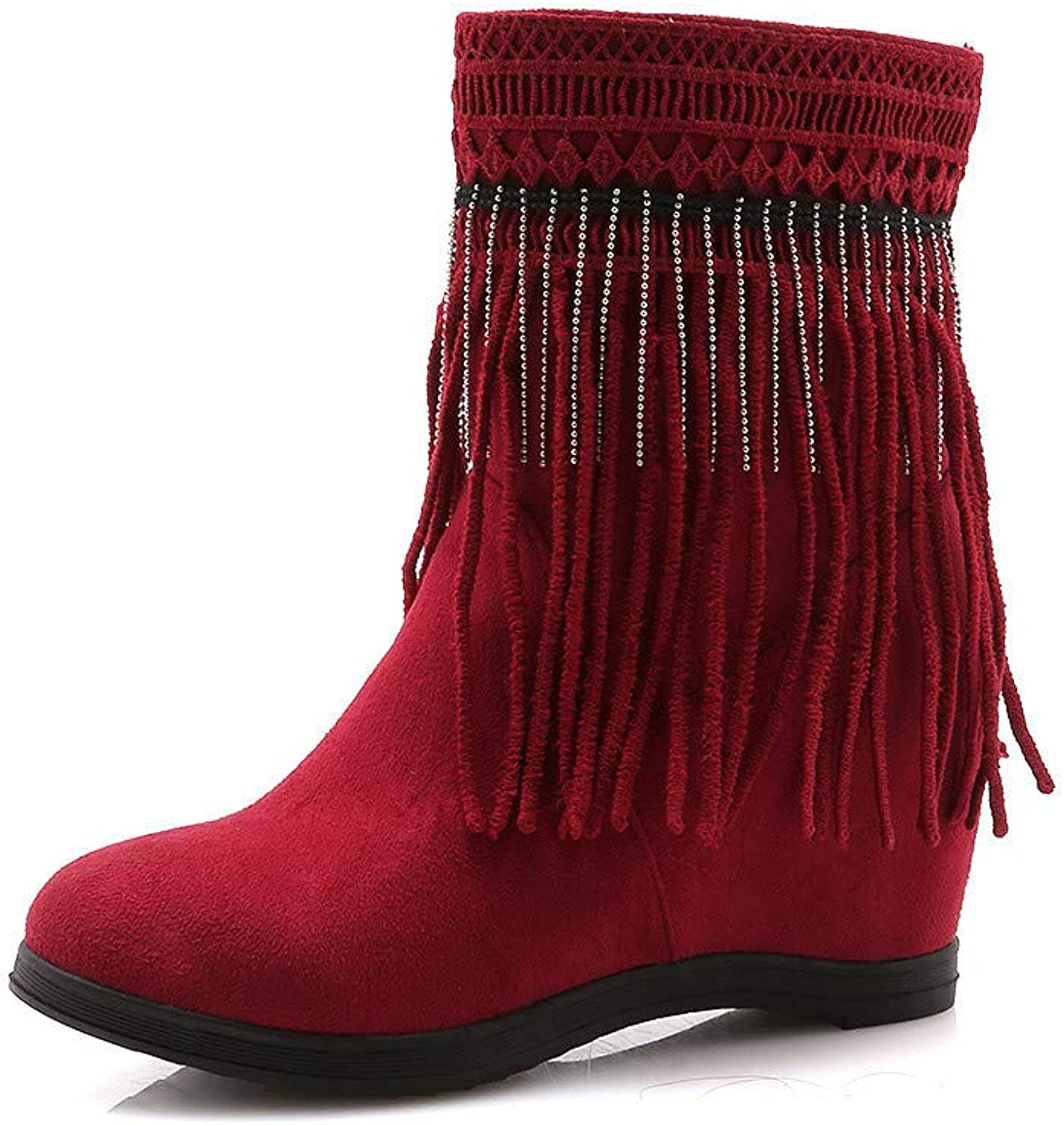 Boots for Women, Autumn and Winter Large Size Increase (6.5Cm) Warm Snow Boots, Fringed Matte Flat Boots and Bare Boots