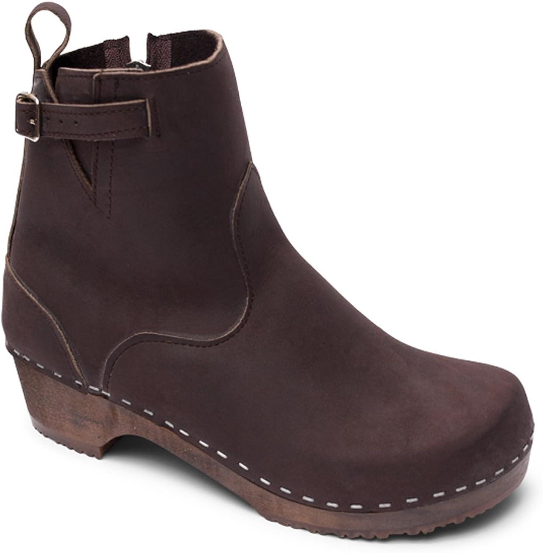 Sandgrens Swedish Low Heel Wooden Clog Boots for Women   Manhattan