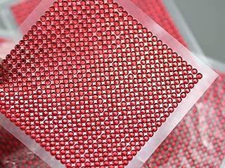 3mm SS12 Red Acrylic Self Adhesive Rhinestones - 1 Sheet