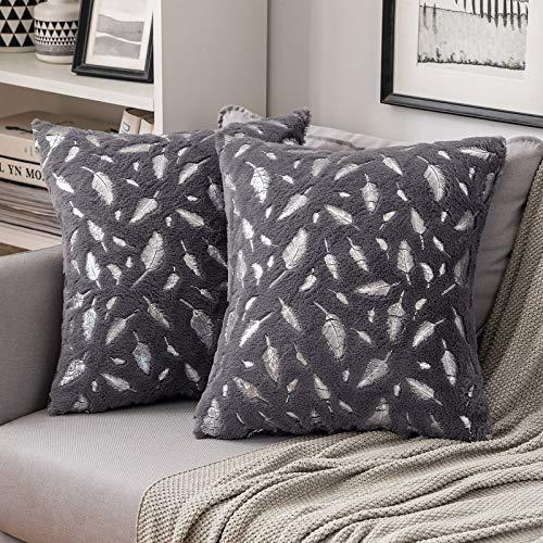 MIULEE 2er Set Silber Feder Kissenbezug Sofakissen Flauschiges Dekokissen Dekorative Kissenhülle Kissenbezüge Quadratisches Kissen für Sofa Wohnzimmer Schlafzimmer 45x45cm Dunkelgrau