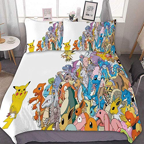 MEW Anime Bedding Duvet Cover Set,Full/Queen (90x90 inch), Pikachu Mewtwo,3 Pieces Bedding Set,with Zipper Closure and 2 Pillow Shams, Cute Cartoon Bedroom Comforter Sets for Boys Girls