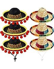 6 Piezas Mini Sombrero Mexicano Sombreros de Paja Lindo Mini Sombreros Divertido de Fiesta para Fiesta Carnaval Verano Decoraciones de Fiesta Temática Mexicana Favor de Fiesta