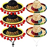 6 Stück Mini Mexikanische Sombrero Hüte Niedlichen Stroh Sombreros Mini Spaß Fiesta Strohhut für...