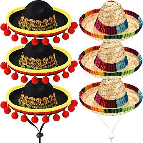 6 Stück Mini Mexikanische Sombrero Hüte Niedlichen Stroh Sombreros Mini Spaß Fiesta Strohhut für Fiesta Karneval Sommer Mexikanische Thema Party Dekorationen Party Gefälligkeiten