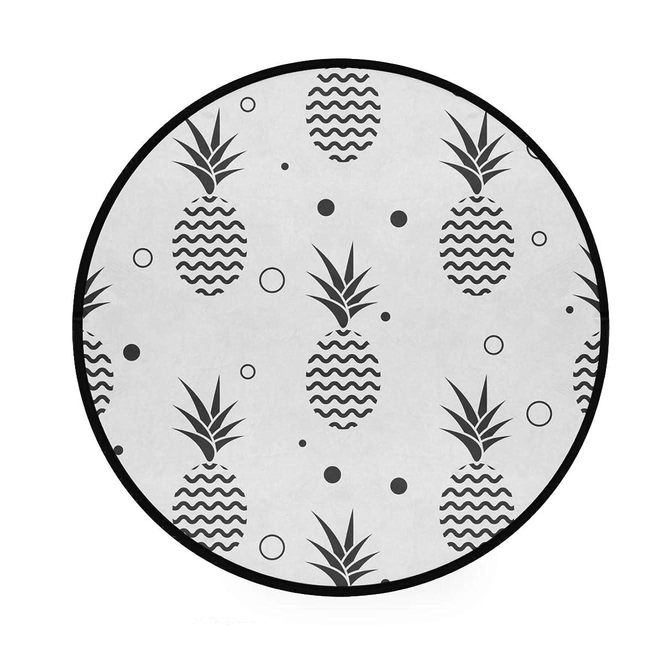 居住者ハンサム簡潔なラウンドマット パイナップル柄 簡単 円形マット 滑り止めのカーペットの丸い部屋 高級 丸いラグ 円形 リビング 子ども部屋 柔らかい エコ 防音 防カビ抗菌 オールシーズン使用 直径92cm