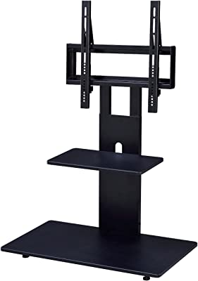 Proman Products Modern TV Stand With With Adjustable Mount and Two Shelves, Black