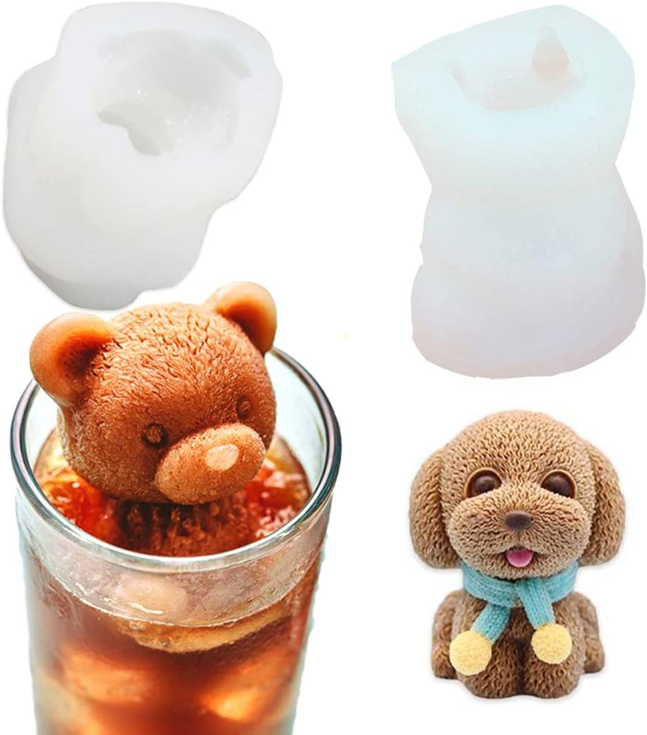 YAWOOYA Set of Austin Mall 2 Pack 3D Bear Capa Puppy 35ml and Max 43% OFF Molds Silicone