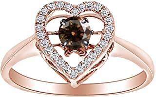3/8 Carat Brown Dancing & White Natural Diamond Halo Heart Ring 10K Solid Gold (0.38 Cttw)