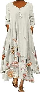 STKOOBQ Vestido feminino casual de verão, vestido feminino casual com estampa floral, gola redonda, manga comprida, irregu...