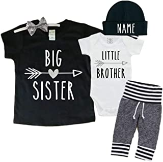 Personalized Big Sister/Little Brother Set Set 0-3Mo Bodysuit & 3T Shirt