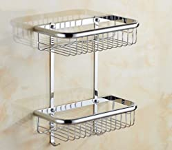 Elegant Towel Stand Bathroom Supplies Toilet-Bathroom All Copper Thick Solid Double Bathroom Shelf Single Square Basket Ba...
