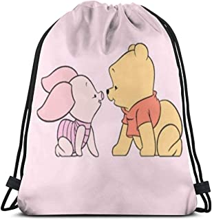 MPJTJGWZ Classic Drawstring Bag-Winnie The Pooh and Piglet Gym Backpack Shoulder Bags Sport Storage Bag for Man Women