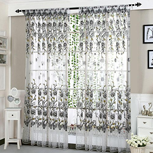 Hot Sale!!! Window Curtain,Jushye 1 PCS Vines Leaves Floral Tulle Door Drape Panel Sheer Scarf Valances (D)