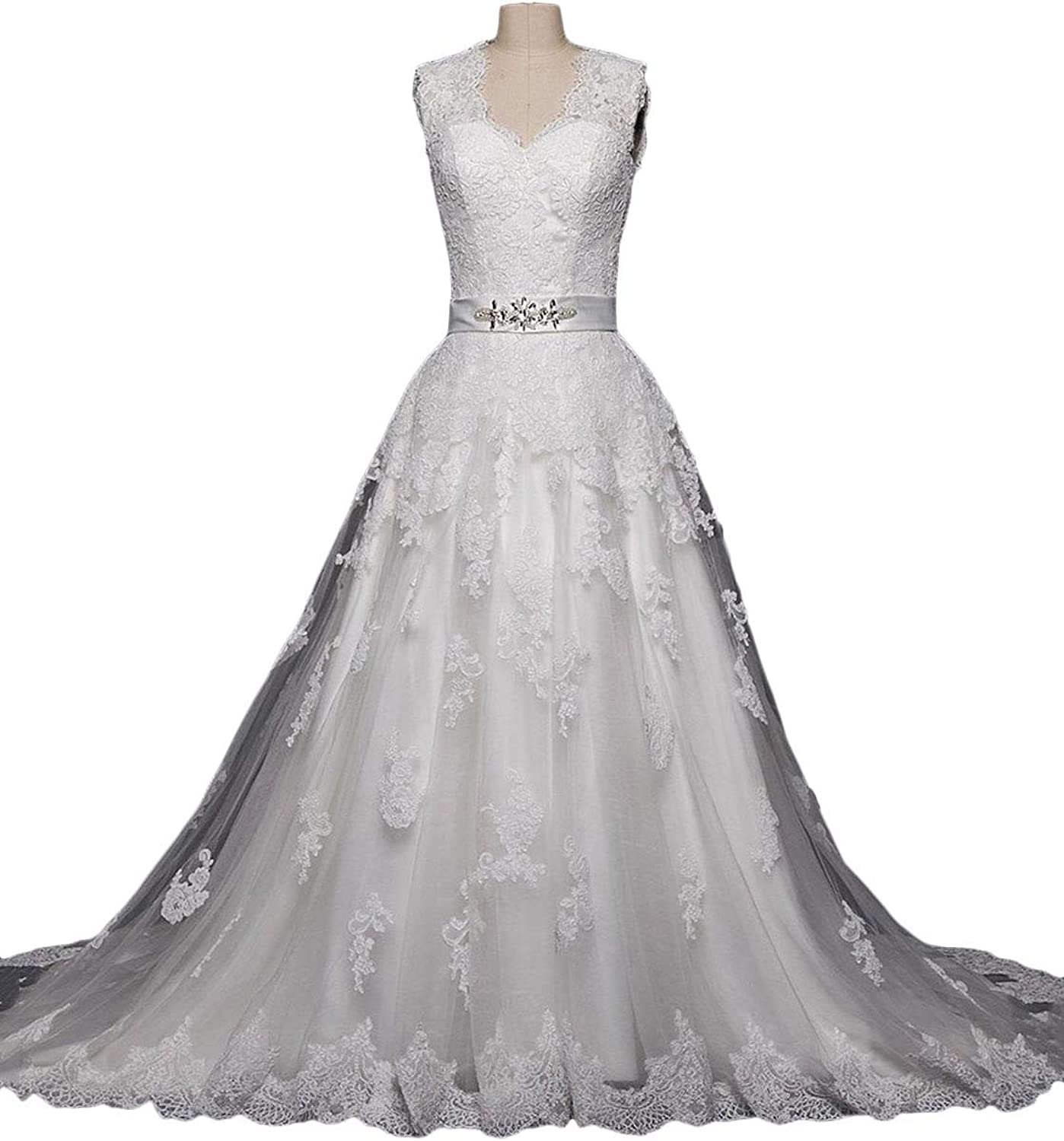 Baixia Princess Wedding Dresses Applique Lace Sweetheart Puffy Ball Gown Bridal Dress