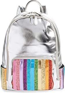 Bari Lynn Rainbow Glitter Stripe Metallic Backpack