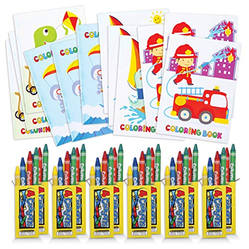 Bulk Party Pack of Coloring Books and Crayons - 12 5' x 7' Coloring Books and 12 Boxes of Crayons - 4 Colors