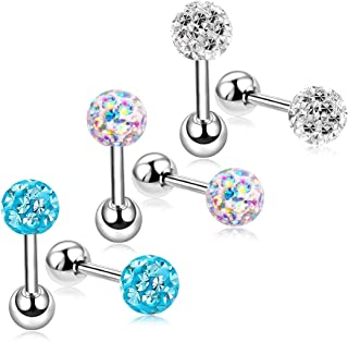 18G Stud Earrings Set for Women Girls Sensitive Ears with Screw on Backs Tragus Cartilage Jewelry ZHYAOR