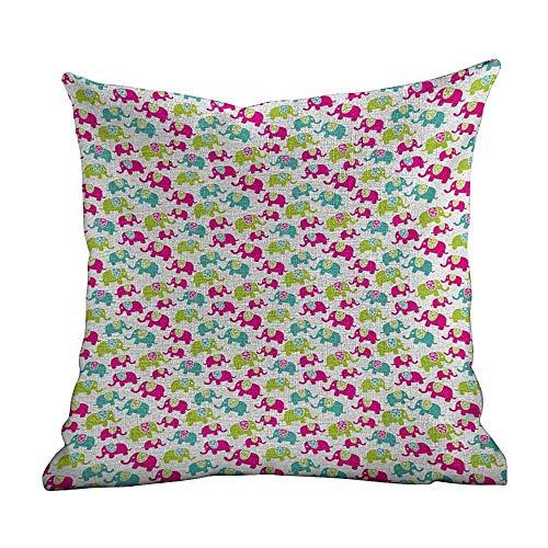 Funda de almohada personalizada con elefante, figuras dulces de bebé con patrones a cuadros y corazones de lunares, rosa pálido, verde pistacho, funda de cojín cuadrada estándar para sofá, dormitorio,