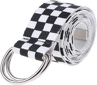 ZOUCY Cinturón a Cuadros Blanco Negro Unisex Moda para Mujer Cinturón Hebilla Larga Lona