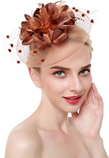 YiyiLai Flower Beaded Mesh Feather Derby Hat Fascinator with Clip Headband