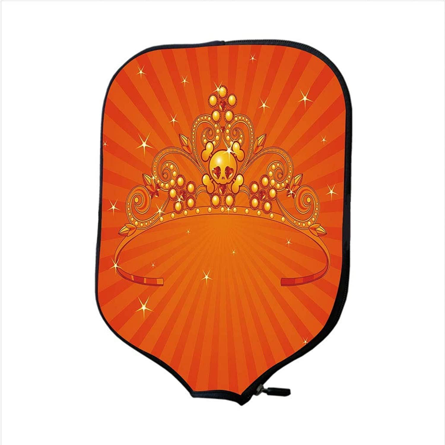 Fine Neoprene Pickleball Paddle Racket Cover Case,Queen,Fancy Halloween Princess Crown with Little Skull Daisies on Radial orange Backdrop Stars Decorative,orange,Fit for Most Rackets