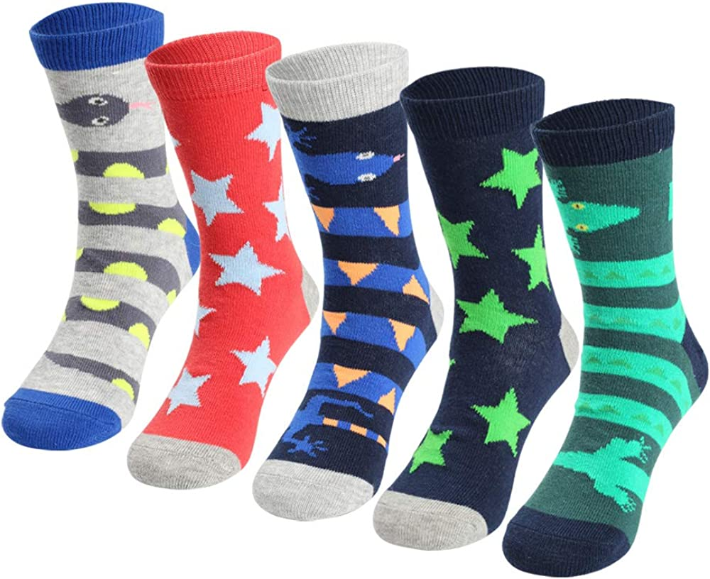 COTTON DAY Boys Fun Novelty Design Socks Bright Colors Pack of 5
