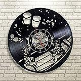 WWSC Reloj De Pared De Vinilo De Pelo Largo Princesa Relojes 12 Pulgadas Retro Decoración Nostálgica Regalo Adecuado para El Hogar Tienda Bar Silencio Reloj - Reloj Seguro Black