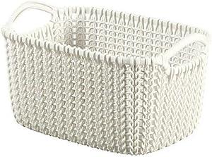 Curver KNIT XS plastic rectangular storage basket, white, 25x17.5x14cm with handles, EF505928