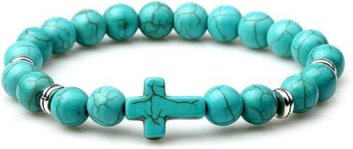 Reizteko Fashion Religion Cross Bangle 8MM Tiger Eye Turquoise Beads Elastic Bracelet,7-8inches (Turquoise)