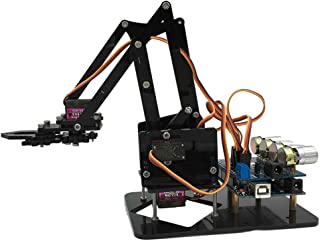Baoblaze DIY Assembled Acrylic Robot 4-Dof Robot Mechanical Arm For Arduino Learning Kits Intelligence Toy