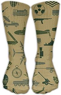 Bigtige, Calcetines de mujer Lady Girls Classics Crew Patrón militar Calcetines de vestir deportivos personalizados 50cm de largo-Toda la temporada