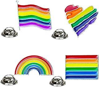 FENICAL 8 Piezas Un Conjunto Colorido Arco Iris Bandera de Amor Broche de Gota de Aceite Broche de Cuello de Moda Ropa Dec...