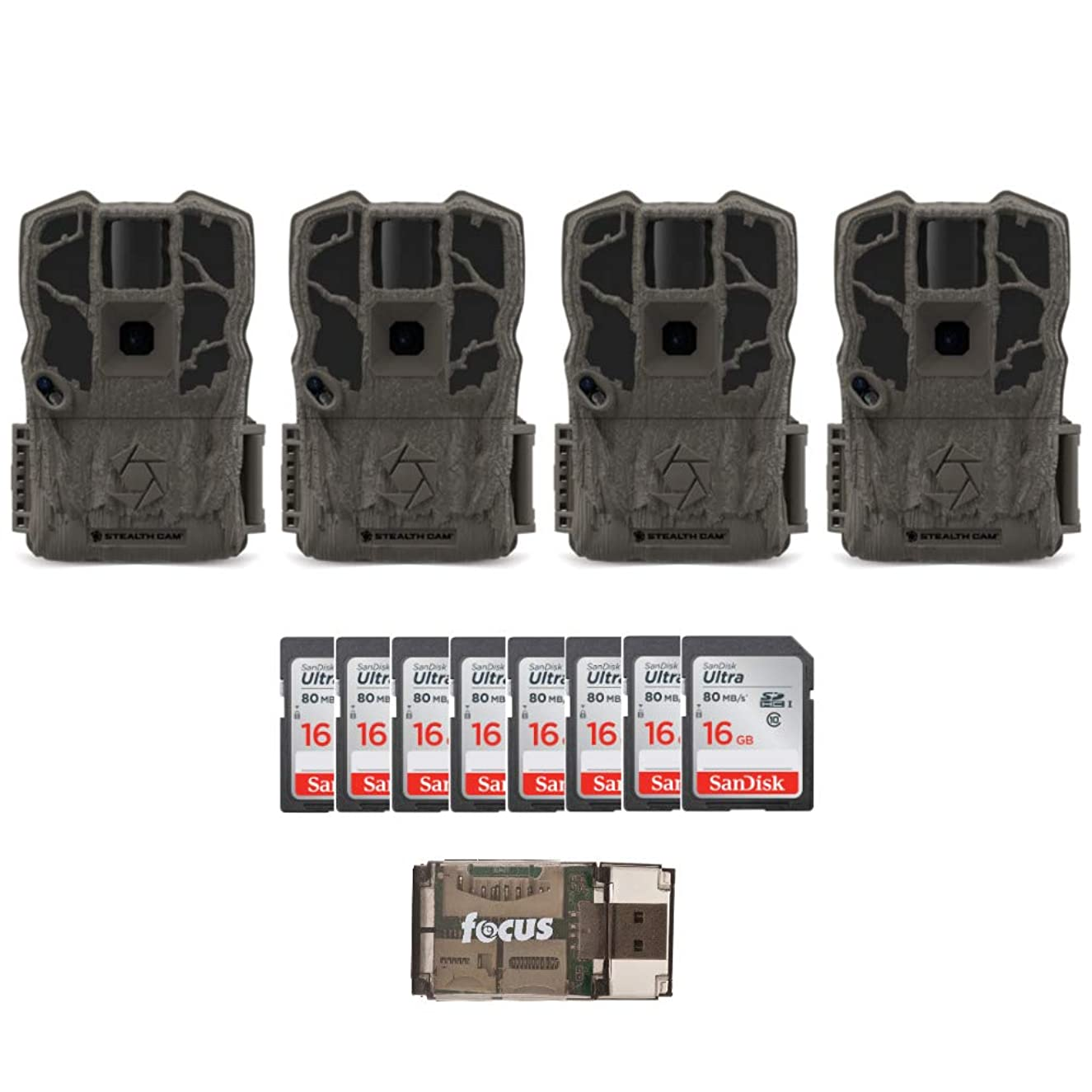 Stealth Cam G34 Max Pro 26MP Trail Camera 4-Pack, with Eight 16GB Memory Cards, and Focus USB Card Reader Bundle