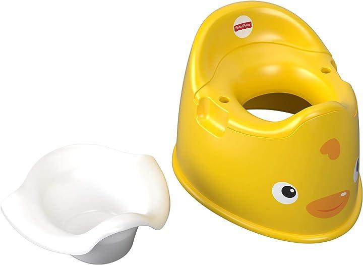 Vasino della paperella con comode maniglie, per bambini dai 18 mesi, colore giallo, gcj81 fisher-price