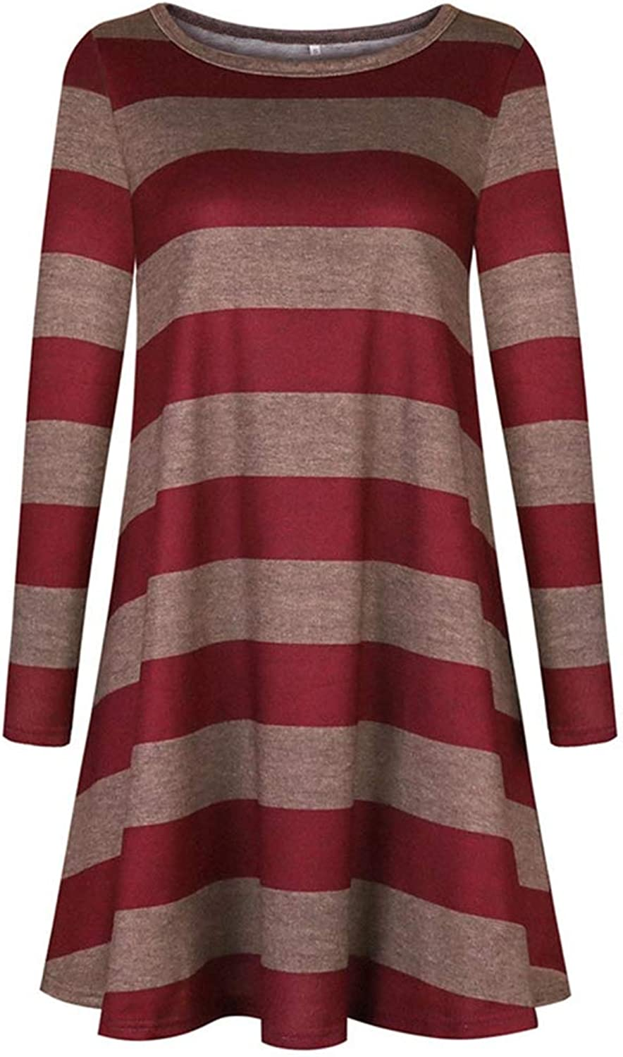 HFOP Dress Women's Dress Long Sleeve Striped Swing TShirt Dress with Pocket