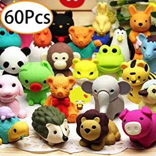 Funny 3D Mini Erasers Assortment 240 Pack Fruit Animal Pencil Erasers for Kids Cute Cat Rabbit Bear Banana Strawberry Novelty Erasers for Birthday Party Supplies Favors Classroom Rewards and Prizes