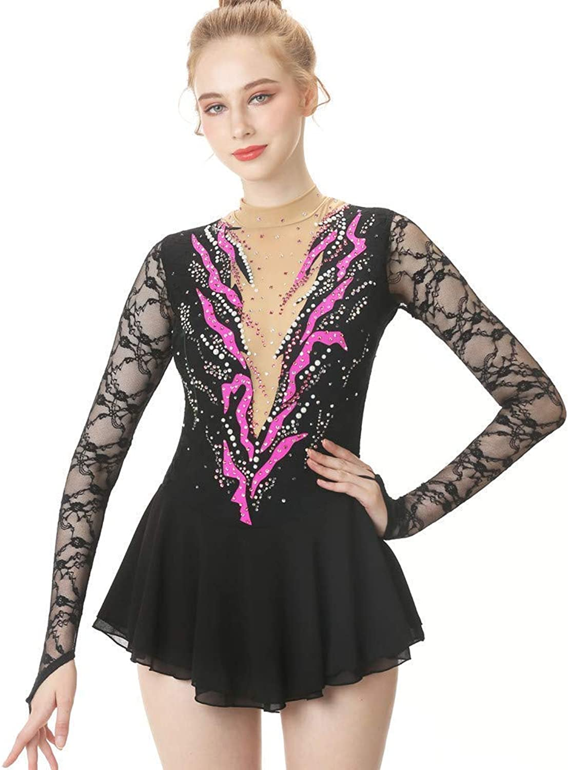 Heart&M Ice Skating Dress For Girls And Women, Handmade Figure Skating Competition Professional Costume With Lace Crystals Long Sleeved Leotard, Black