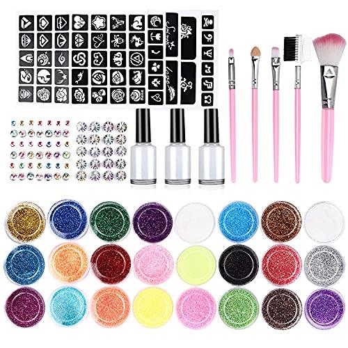 Pascua de Resurreccin Emooqi Kit de Tatuajes Temporales, 24 Colores Tatuaje de Brillo para el Cuerpo Brillos de Tatuaje,con 24 Brillos,143 Plantillas de Tatuaje,5 Pinceles, 3 Pegamentos