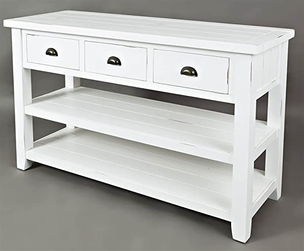 Jofran Sofa Table In Weathered White Finish
