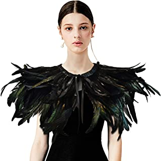 Gothic Black Natural Feather Cape Shawl with Choker Collar